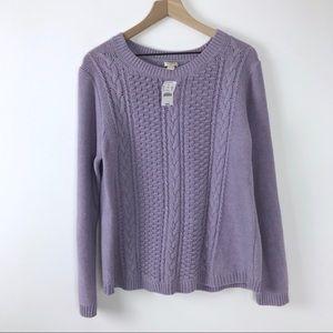 NWT J. Crew Popcorn Cableknit Sweater Pastel lilac